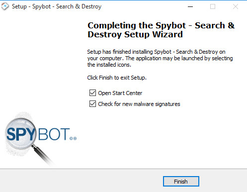spybot installation completed