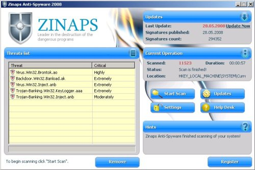Zinaps screenshoot