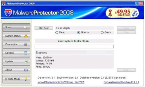 MalwareProtector2008 screenshoot