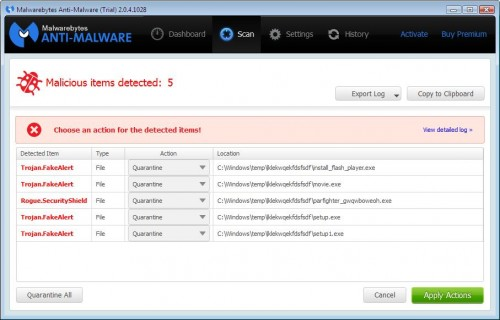 Malwarebytes Anti-Malware scan results