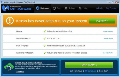 Malwarebytes Anti-Malware start a scan