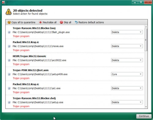 Kaspersky virus removal tool scan report