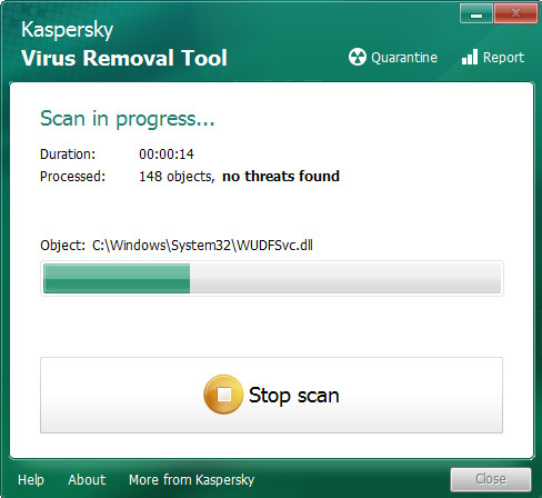 kaspersky virus removal tooll scanning