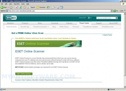 How to use ESET Online Scanner