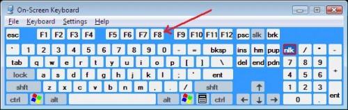 keyboard F8