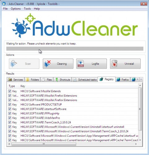 AdwCleaner detects TermCoach