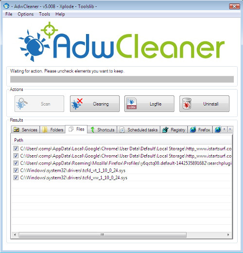 AdwCleaner detects istartsurf