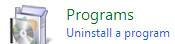 Uninstall program panel