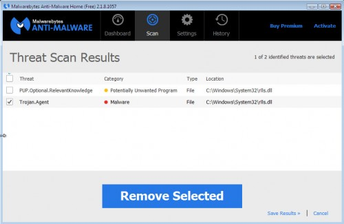 Malwarebytes detects RelevantKnowledge