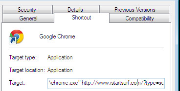 Chrome shortcut infected with Istartsurf.com virus