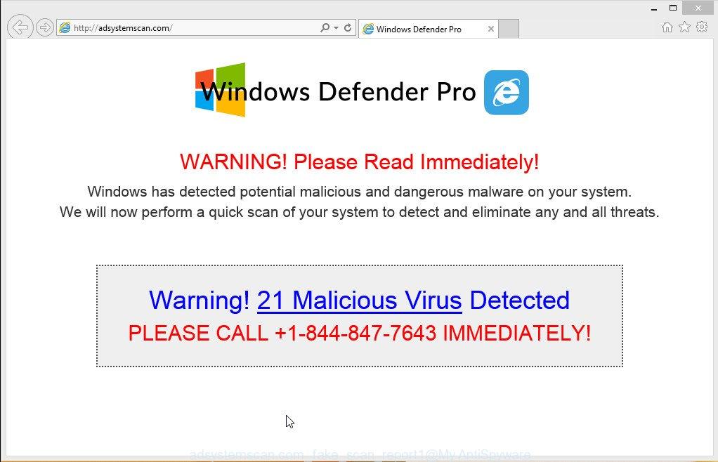 adsystemscan.com fake pop-up warning