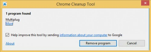 chtome cleanup tool report adware found