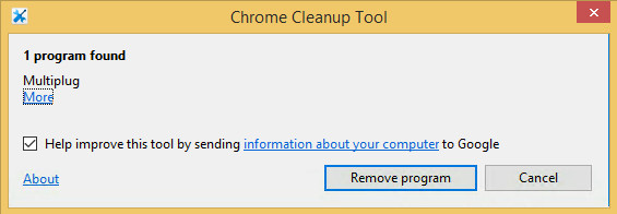 chrome cleanup tool report adware found