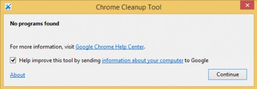 chrome cleanup tool report no programs found