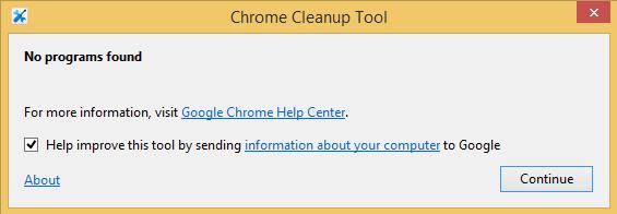 chrome cleanup tool report no programs found