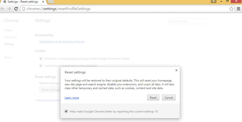 chrome cleanup tool reset settings