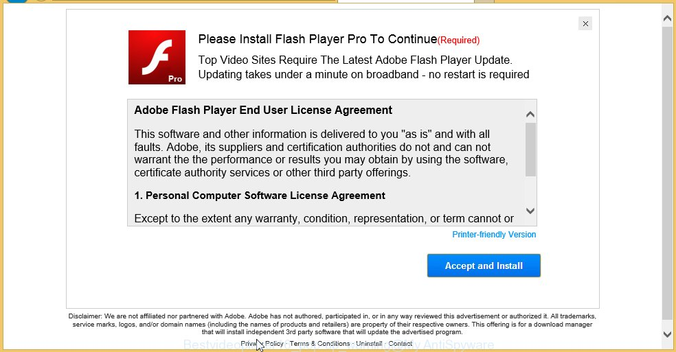 Bestvideoplayer16 pop-up warning