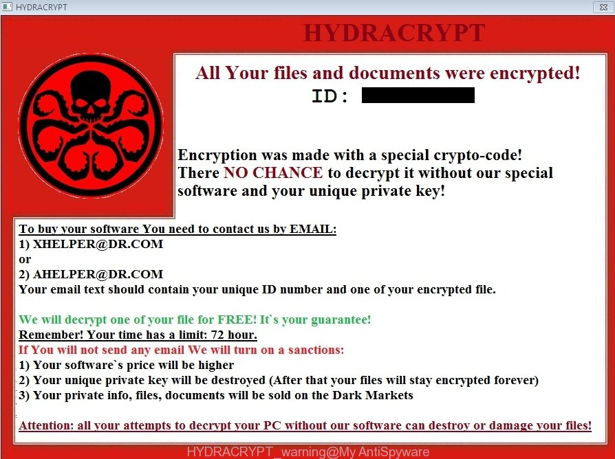 HYDRACRYPT warning