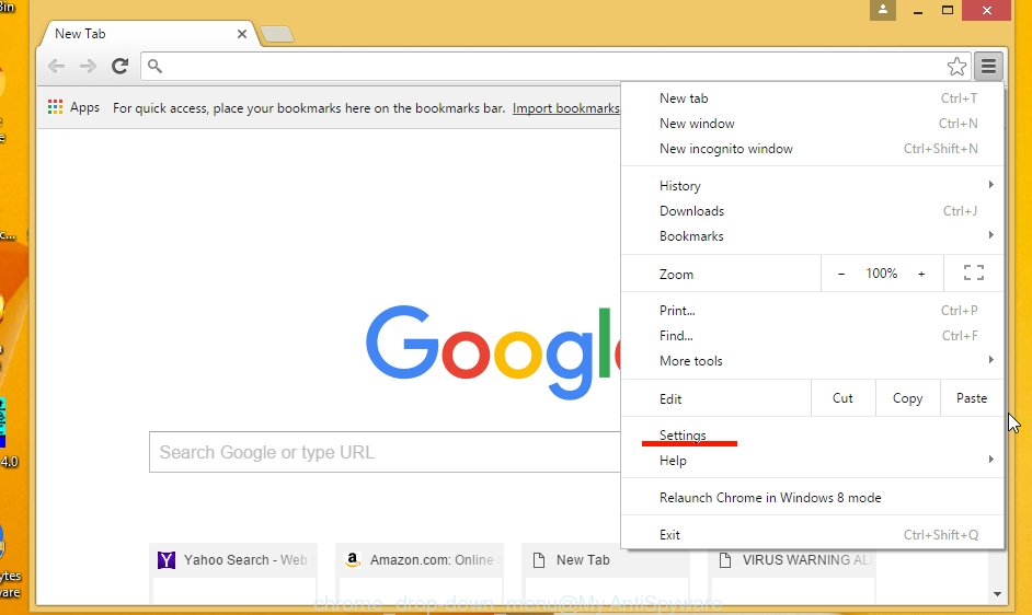 Google Chrome drop-down menu