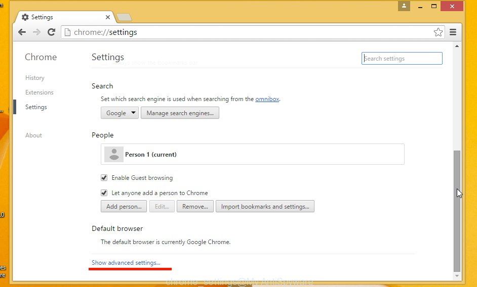 chrome settings page