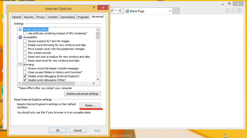 reset internet explorer advanced settings
