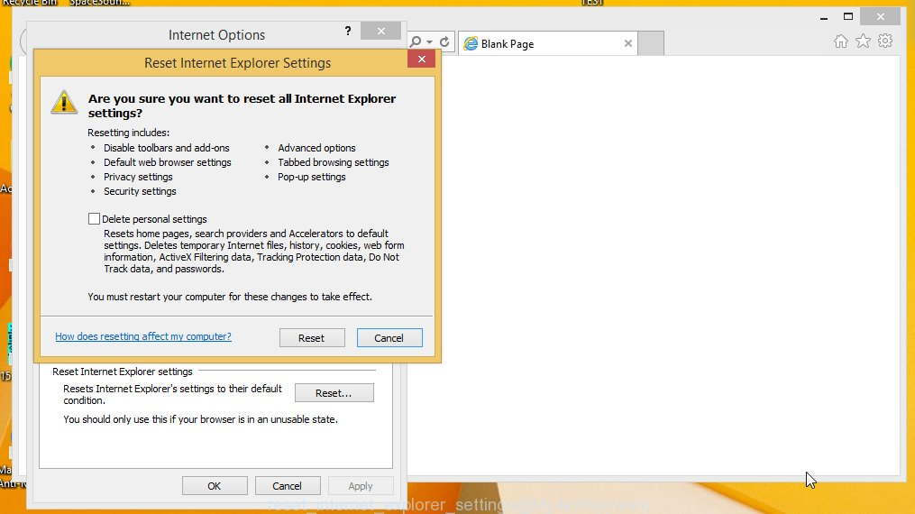 reset Microsoft Internet Explorer settings