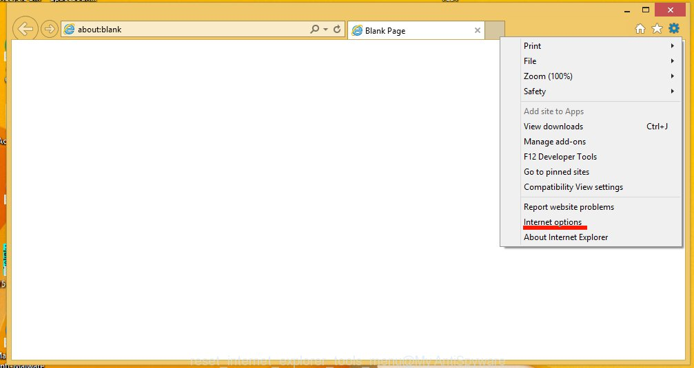 reset internet explorer tools menu