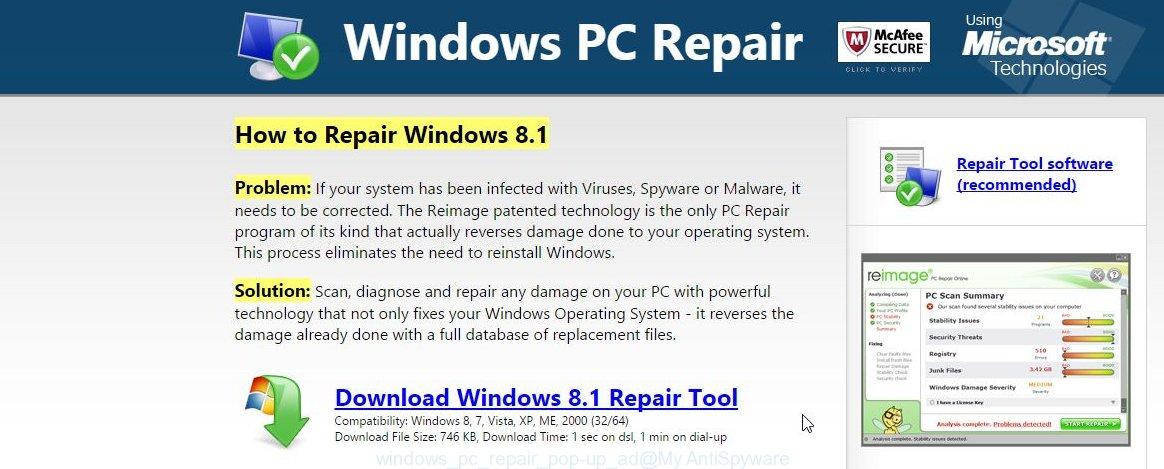 windows pc repair pop-up ad