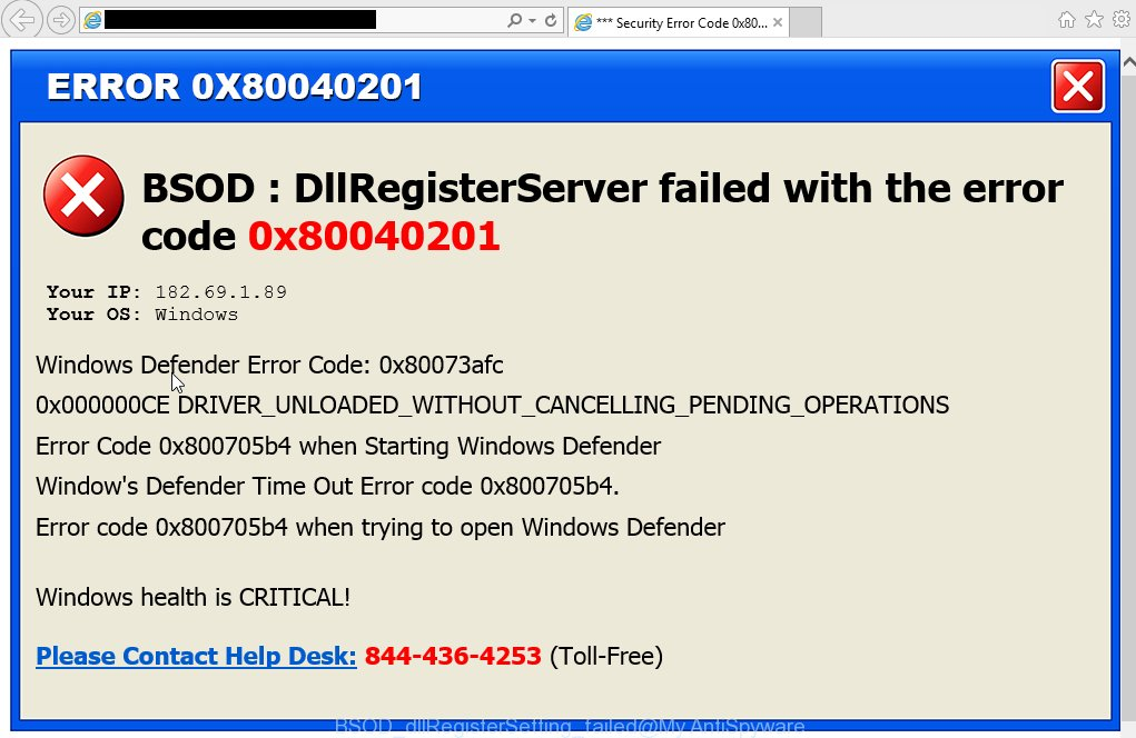 BSOD : dllRegisterSetting failed