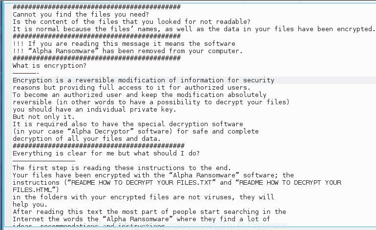 Alfa (alpha) virus - ransomnote