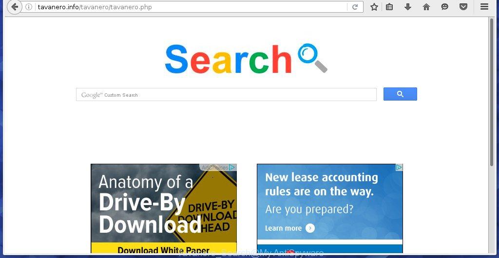 Tavanero Search page