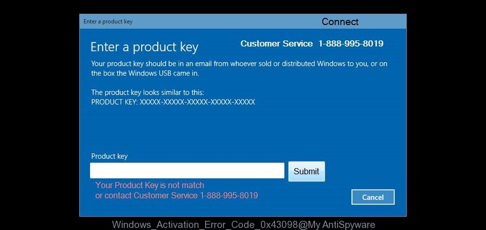 Fake Windows Activation Error Code: 0x43098