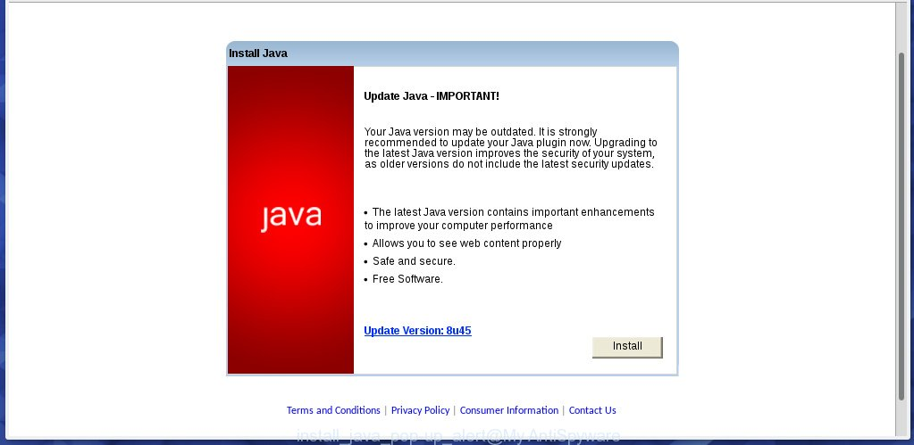 Install Java - Your Java version may be outdated - fake alert