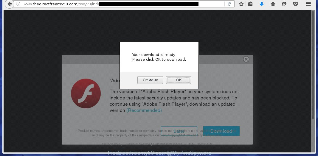 http://www.thedirectfreemy50.com/two/v3/index.html - offers to install a fake adobe flash player update