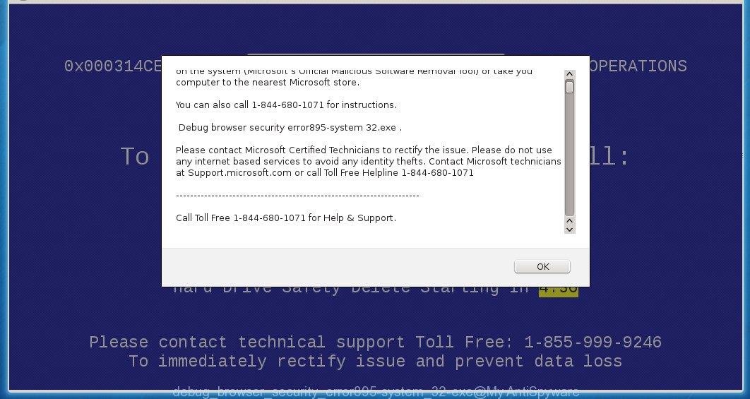 Debug browser security error895-system 32.exe
