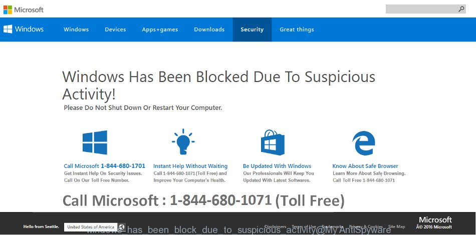 Windows Has Been Blocked Due To Suspicious Activity! Please Do Not Shut Down Or Restart Your Computer