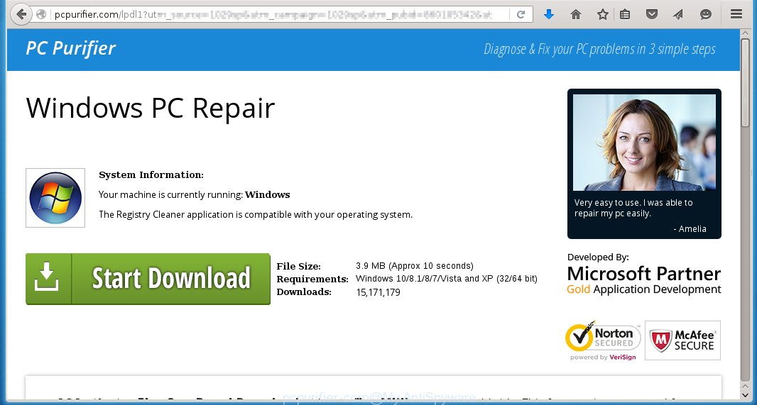 Pcpurifier.com offers to install the Windows Repair Software