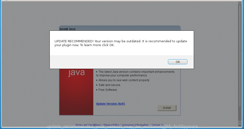 "The ""UPDATE RECOMMENDED! Your version may be outdated"" pop-up offers to update Java"