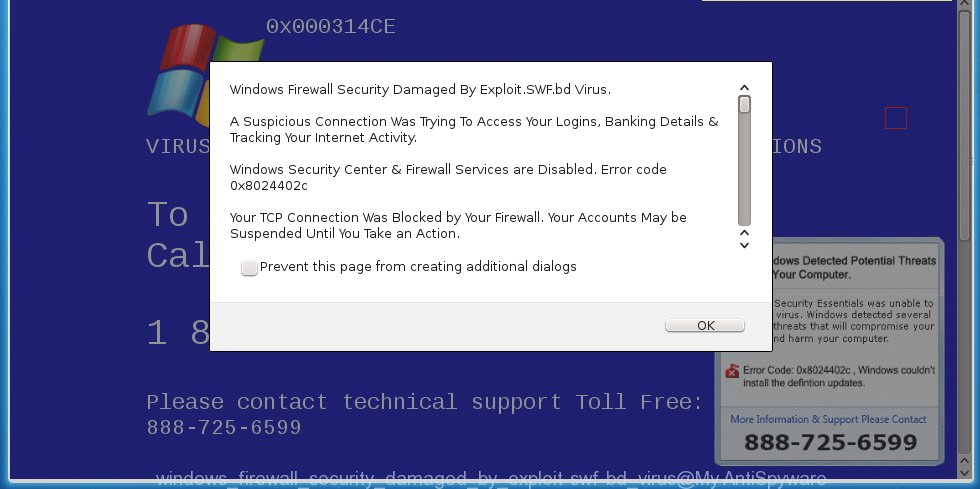 "fake ""Windows Firewall Security Damaged By Exploit.SWF.bd Virus"" alert"