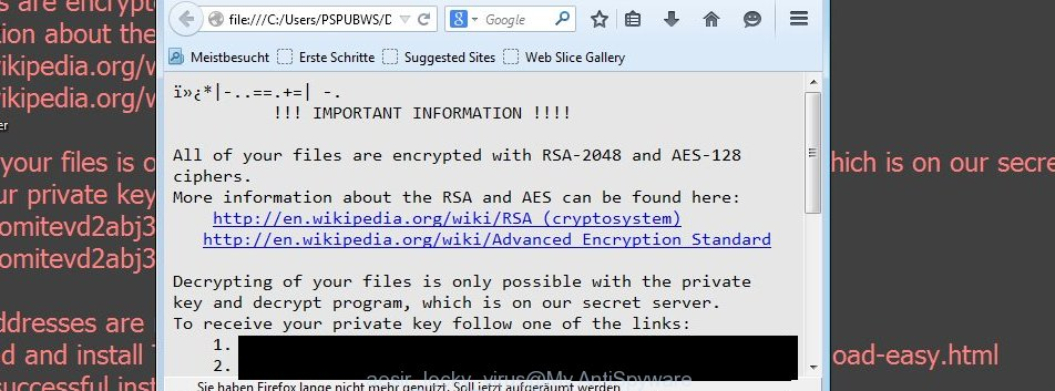 Aesir (Locky) virus ransomnote