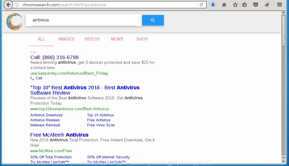 """Chromosearch"" search results displays a large number of advertising links"