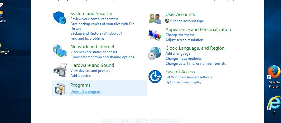 MS Windows 10 control panel