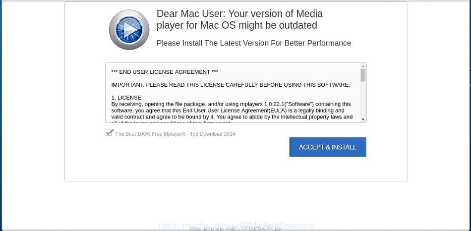 Pop-up ads offers to install a fake media player update