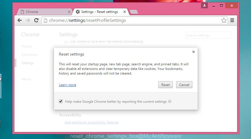 reset Google Chrome settings box