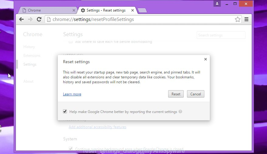 Google Chrome reset settings dialog