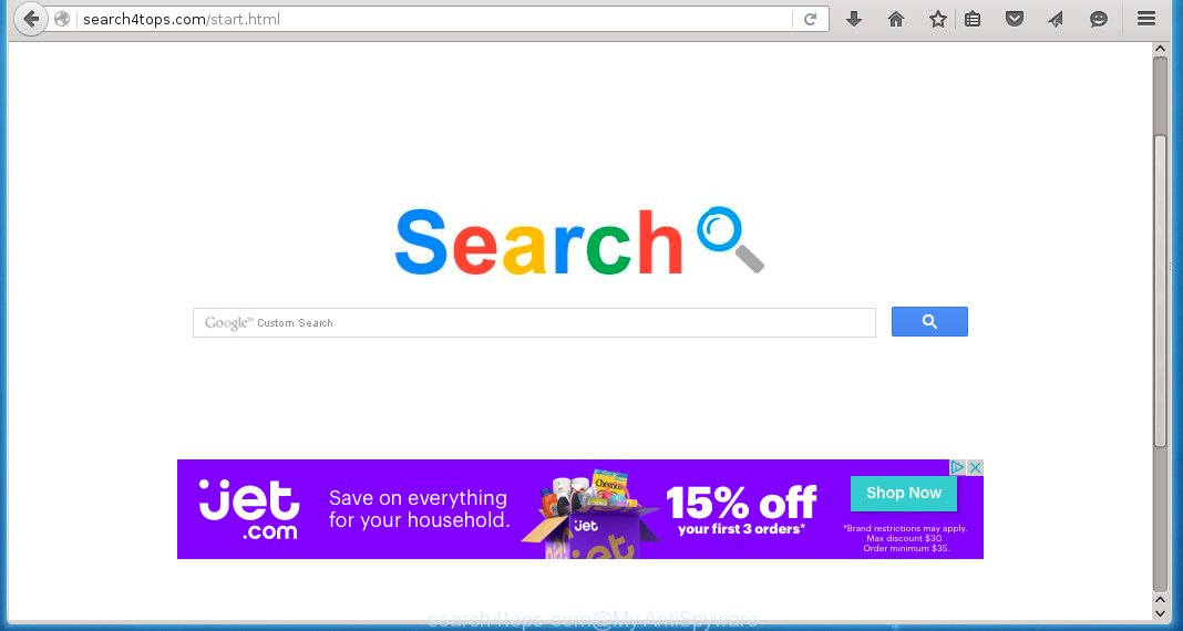 The browser opens http://search4tops.com/start.html instead of homepage