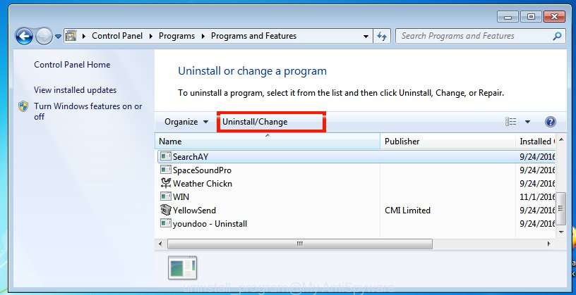Uninstall a application in Windows 7