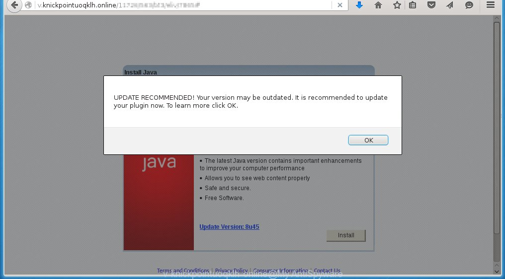 http://v.knickpointuoqklh.online offers to install 'Java Update'