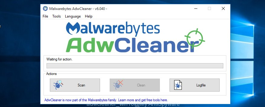 adwcleaner MS Windows 10 find browser hijacker which changes web browser settings to replace your new tab, startpage and search engine by default with Eokomoko.online page