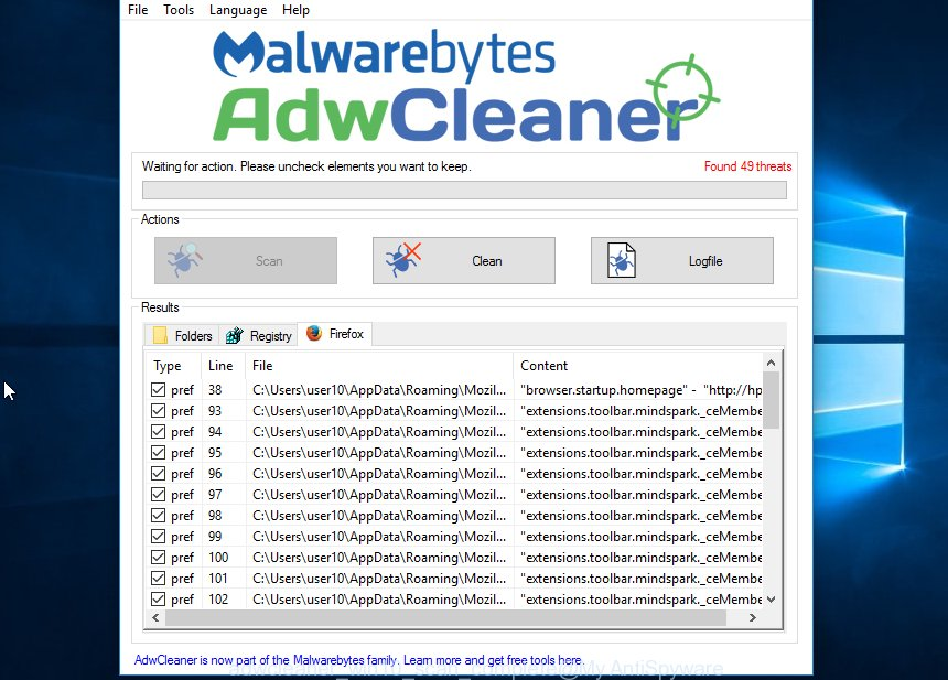 adwcleaner win10 scan for firefox.privacy4browsing.com complete